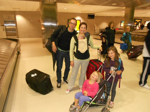 Steve, Caro, Bella, Sari and Phoebe arrive in Detroit after 24 hrs of travel from New Zealand.